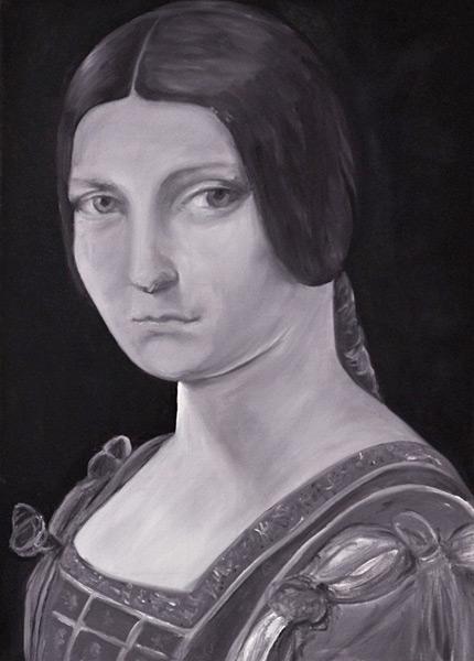 Bildnis einer jungen Frau, nach einem Motiv von Leonardo da Vinci, Gemälde